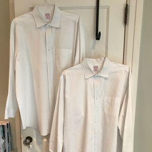 "Two Brooks Brothers white dress shirts, 17.5""x34"